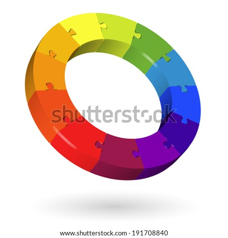 3D puzzle circle - 12 parts - stock vector