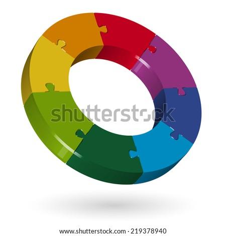 3D puzzle circle - 8 parts - stock vector