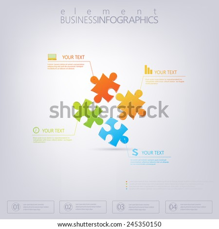 3D Puzzle piece infographics . Can be used for web design , diagram, for workflow layout . - stock vector