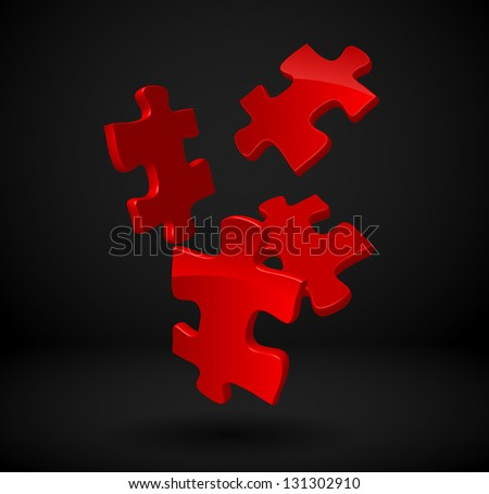 3d Puzzles falling to the ground - stock vector