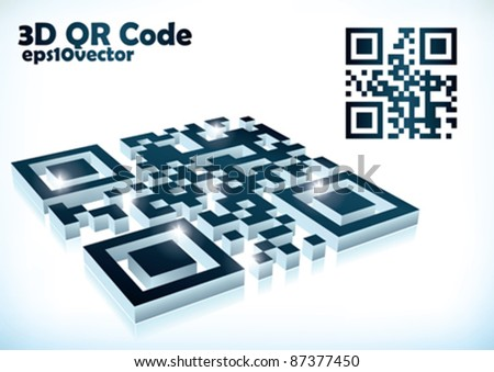 3d qr code in vector format - stock vector