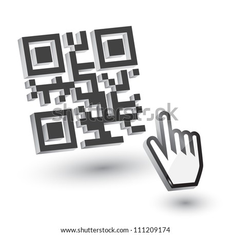 3D QR Code with hand arrow, vector - stock vector