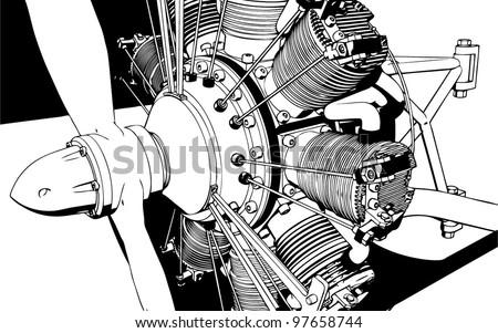 3D Radial Engine Cylinder illustration - stock vector