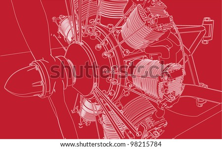 3D Radial Engine Cylinder illustration on red background.Vector image. - stock vector