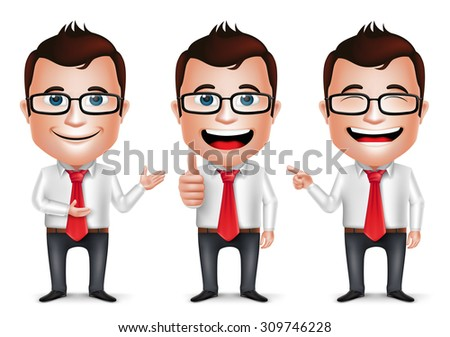 3D Realistic Businessman Cartoon Character with Different Pose and Hand Gesture Wearing Long Sleeve Isolated in White Background. Set of Vector Illustration.  - stock vector
