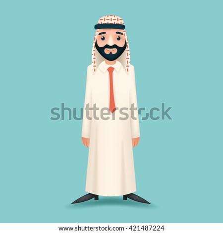 3d Realistic Businessman Sale Presentation Cartoon Character Arab Traditional National Muslim Clothes White Board Icon Stylish Background Retro Cartoon Design Vector Illustration - stock vector