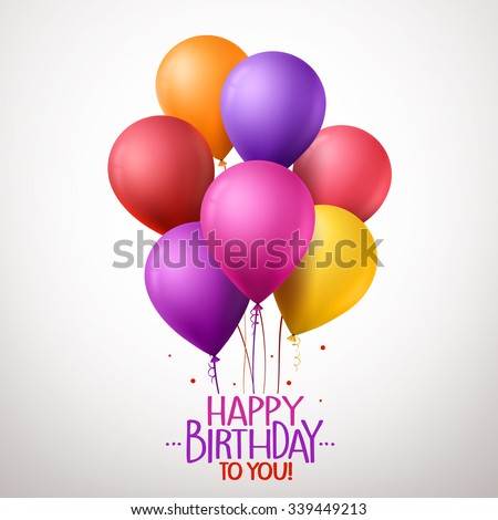 3d Realistic Colorful Happy Birthday Balloons Flying for Party and Celebrations With Space for Message Isolated in White Background. Vector Illustration