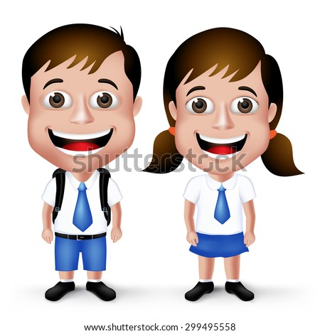 3D Realistic Cute School Boy and Girl Student Characters in School Uniform with Backpack and Happy Smile Isolated in White Background. Vector Illustration - stock vector