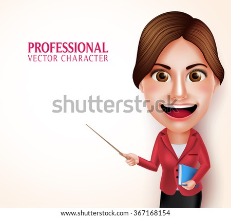 3D Realistic Good Looking Professional School Teacher Vector Character Smiling Holding Books while Teaching Lessons Pointing an Empty Space. Vector Illustration - stock vector