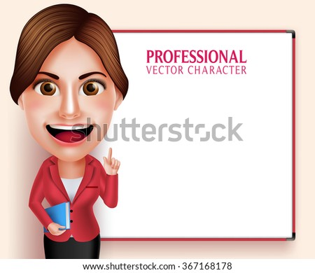 3D Realistic Good Looking Professional School Teacher Vector Character Smiling Holding Books while Teaching Lessons in Empty White Board. Vector Illustration - stock vector