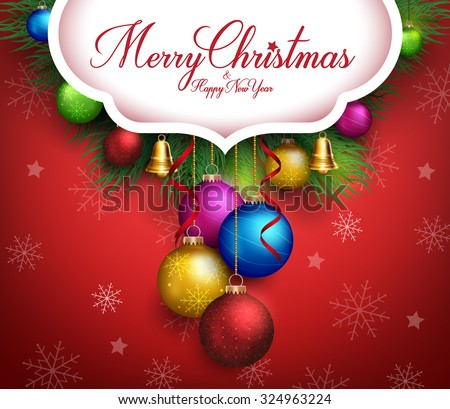 3D Realistic Merry Christmas Greetings Text with Hanging Colorful Balls and Decorations in Red Background. Vector illustration  - stock vector