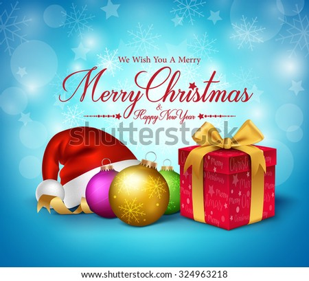3D Realistic Merry Christmas Greetings with Red Gift and Decoration in Snow Background. Vector Illustration  - stock vector