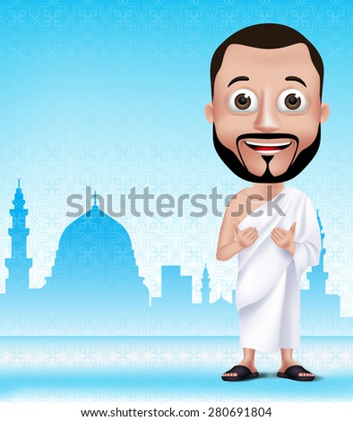3D Realistic Muslim Man Character Praying Wearing Ihram Clothes Performong Hajj or Umrah with Madinah Silhouette Background. Editable Vector Illustration - stock vector
