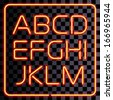 3D realistic neon letters. San-serif neon alphabet. - stock vector