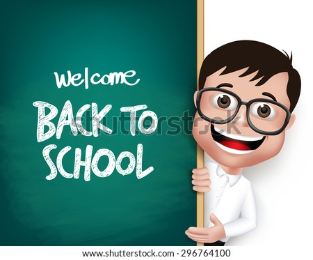 3D Realistic Nerd School Boy Student with Eyeglasses Happy Smiling Holding a Blackboard With Back to School Text Written Isolated in White Background. Vector Illustration - stock vector