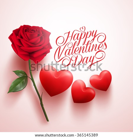 3d Realistic Red Rose Hearts Happy Stock Vector 365145389 ...