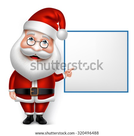 3D Realistic Santa Claus Cartoon Character for Christmas Holding Blank Board Isolated in White Background. Vector Illustration  - stock vector