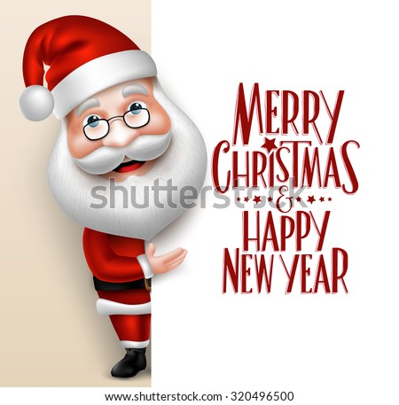 3D Realistic Santa Claus Cartoon Character Showing  Merry Christmas Tittle Written  in Blank Space. Vector Illustration  - stock vector