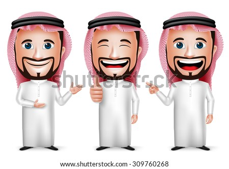 3D Realistic Saudi Arab Man Cartoon Character with Different Pose and Hand Gesture Wearing Thobe Isolated in White Background. Set of Vector Illustration.