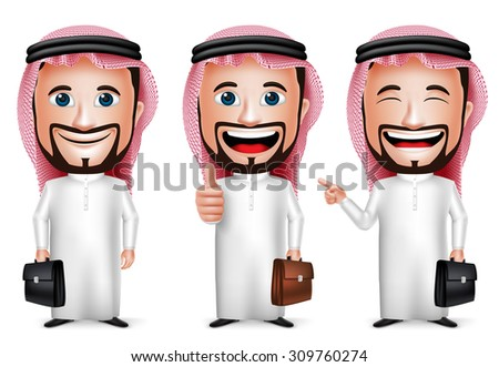 3D Realistic Saudi Arab Man Cartoon Character with Different Pose Holding Briefcase Wearing Thobe Isolated in White Background. Set of Vector Illustration.  - stock vector