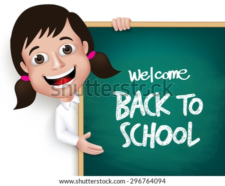 3D Realistic School Girl Student Happy Smiling Holding a Blackboard With Back to School Text Written Isolated in White Background. Vector Illustration - stock vector