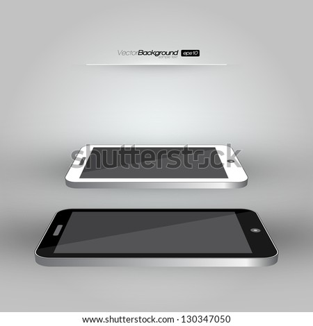 3D Realistic Smart Phone Template (White and Black Variation) | EPS10 Vector Design Illustration - stock vector