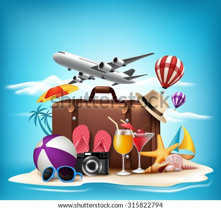 3D Realistic Summer Vacation Design for Travel in a Sand Beach Island in Horizon with Summer Items. Vector Illustration  - stock vector