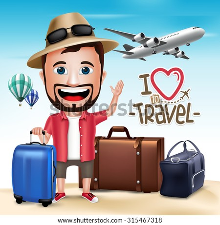 3D Realistic Tourist Man Character Wearing Summer Outfit with Set of Bags and Airplane.  Vector Illustration  - stock vector