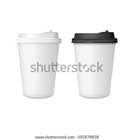 3D Realistic two paper Coffee Cup isolated on white background. Paper Coffee Cup Mockup. Vector Template