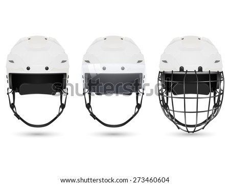 3d realistic white hockey helmet in three varieties - without protection, with visor and goalkeepers. Isolated on white background. Vector EPS10 illustration.
