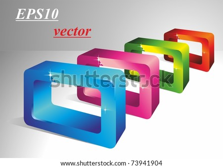 3D rectangles. Geometric shapes. Vector - stock vector