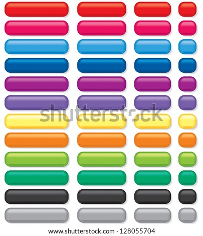 3D rectangular buttons of various colors and sizes - stock vector