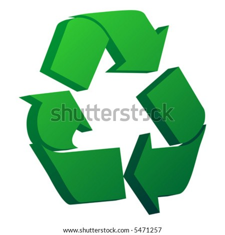 3D recycle symbol isolated over white background
