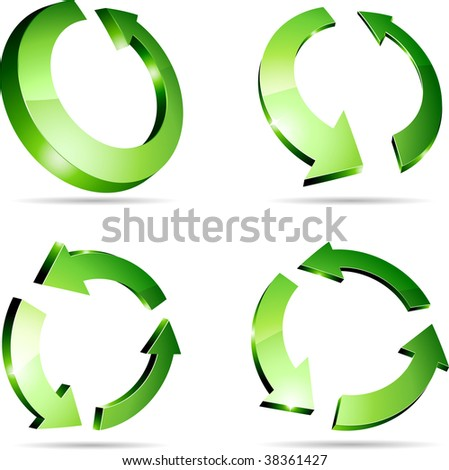 3d recycle symbols. Vector illustration.
