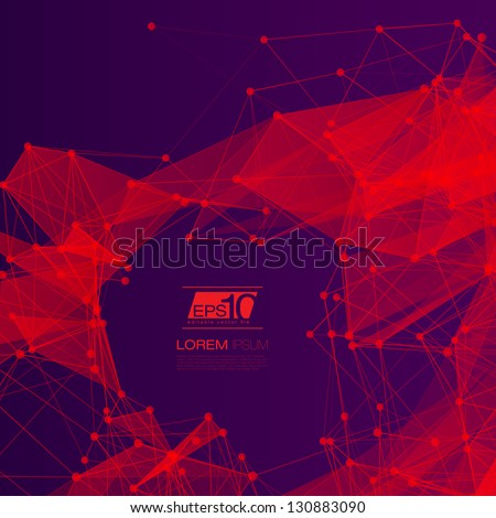 3D Red and Purple Abstract Mesh Background with Circles, Lines and Shapes | EPS10 Design Layout - stock vector