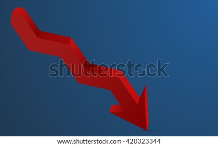 3D red arrow pointing down representing loss. 3D red arrow with shadow pointing down with blue gradient background and barely visible grid. Infographics element in shape of red arrow.  - stock vector