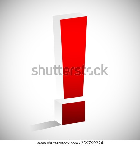 3D Red Exclamation Mark. Eps 10 vector - stock vector