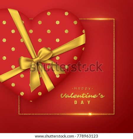 3d red heart with realistic golden bow and glitter frame. Valentine's day holiday background. Vector illustration.