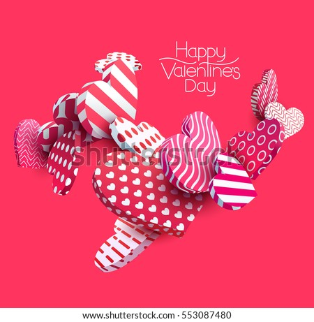 3d red hearts. Abstract vector illustration.