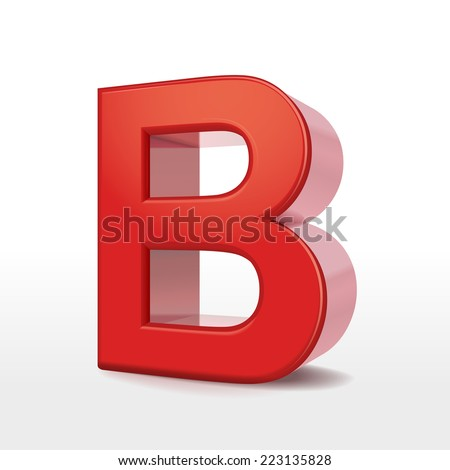 3d red letter B isolated on white background  - stock vector