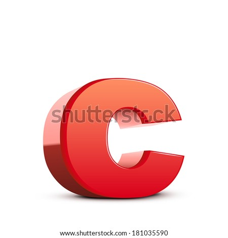 3d red letter c isolated white background