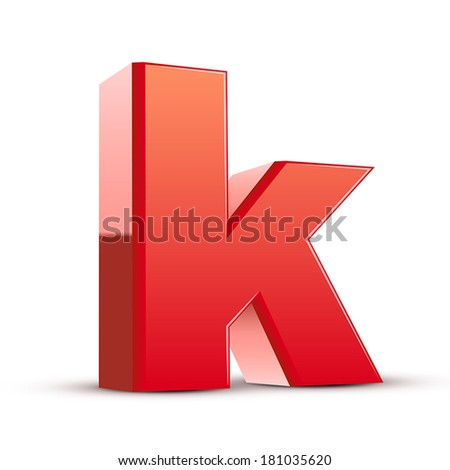 3d red letter k isolated white background - stock vector