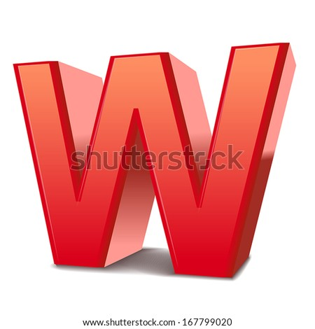 3d red letter W isolated white background - stock vector