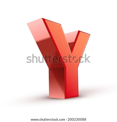 3d red letter Y isolated white background - stock vector