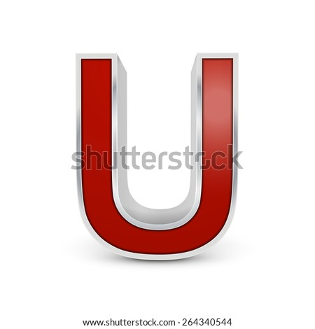 3d red metallic letter U isolated on white background - stock vector