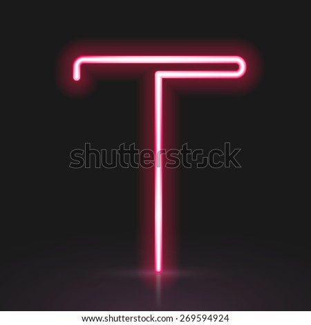 3d red neon light letter T isolated on black background - stock vector