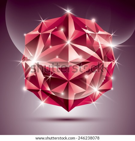 3D red shiny disco ball. Vector fractal dazzling abstract illustration - eps10 jewel. Gala theme. Fantastic object. - stock vector