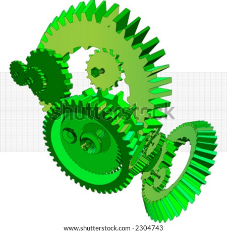 3D rendering of an industrial mechanism made up from gears - stock vector