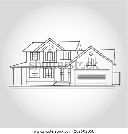 3D rendering wire-frame of house. White background. - stock vector