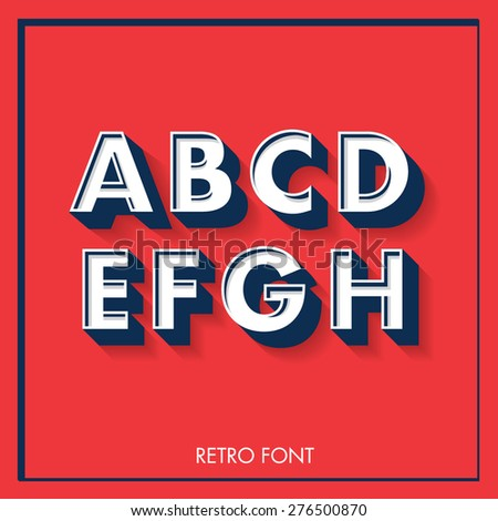 3d retro font/typeface/typography/lettering vector/illustration a,b,c,d,e,f,g,h, - stock vector